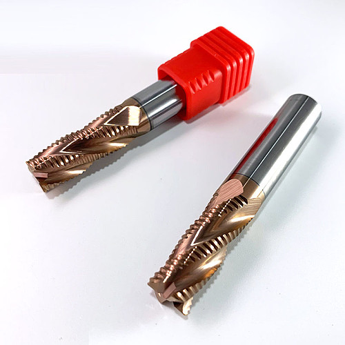 Roughing End Mill Solid Carbide 3 Flutes 4 Teeth for Steel Iron Aluminum MDF Fiberglass Acrylic Wood Copper Plastic