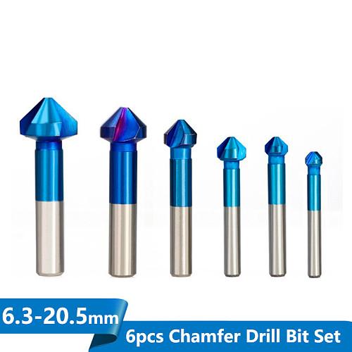 6pcs 6.3-20.5mm 90Degrees HSS Chamfer Drill Bit 3 Flutes Countersink Drill Bit Nano Blue Coated Chamfer Cutter