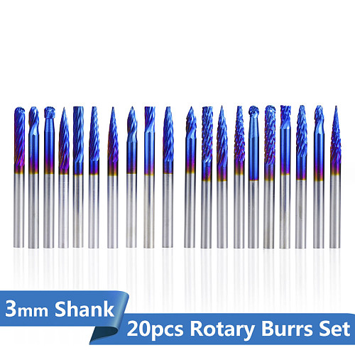 1set Tungsten Carbide Rotary Burrs Set For Dremel Tools 3x3mm Wood Metalworking Bit  Rotary Files