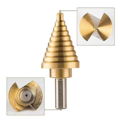 10 Sizes Titanium Step Drill Bit 1/4 to 1-3/8 Inches 4241HSS Drill Cone Bits for Sheet Metal Hole Drilling Cutting