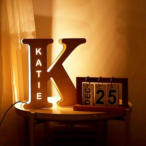 Personalized Wall Decor LED Night Light 24 Letter With Name Sign Light for Couples Baby Room Bedroom Custom Wooden Lamp Engraved