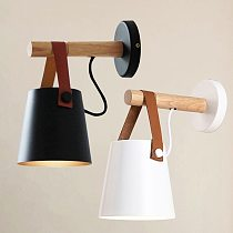 Wood-Wall-Light Bedroom Beside LED Light Black & White Modern Wall Lamp Nordic Style Wood Wall Sconce with Leather Belt Decor