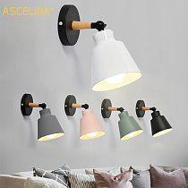 ASCELINA Hot Nordic Style Indoor Lighting  LED Wall Lamp Modern Wooden Bedroom Bracket Light Household Living Room Bathroom Lamp