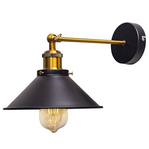 ZhaoKe Black Color Loft Industrial Wall Lamps Vintage Bedside Wall Light Metal  Lampshade E27 Edison Bulbs 110V/220V