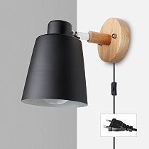 PHYVAL Nordic Wall Lamp With Plug Iron Wall Lamp E27 Macaroon 6 Color Bedside Wall Lamp Led EU/US Plug wall sconces with switch