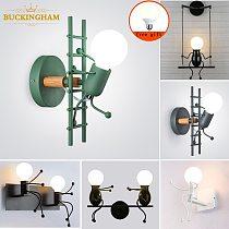 Nodic Wall Lamp Creative Small Man Iron Lights Metal Simple Cartoon Robot Sconce Lamps For Indoor Art Decor Light