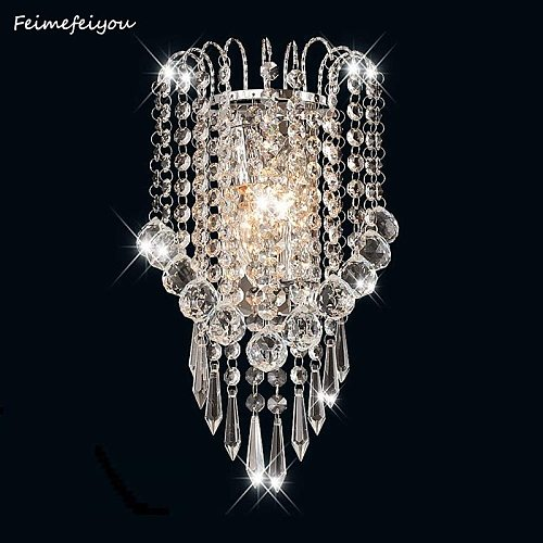 luces led E14 Modern Crystal Mirror Stainless Steel Wall Lights Lamps Sconce Fixtures Lights for Hallway Bedside Living Room