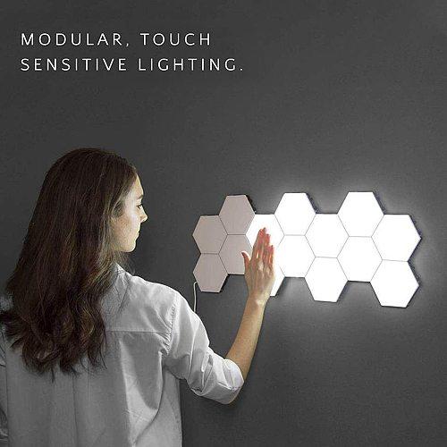 10PCS/Set LED Quantum Hexagonal Wall Lamp Creative White LED Night Light Touch Sensitive Hexagonal Lamps Modular Wall Lampara