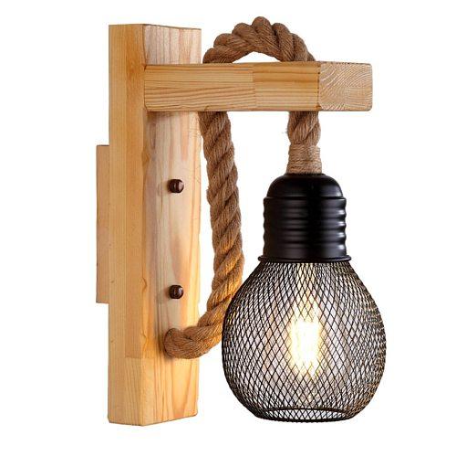 Vintage Wood Hemp Rope Wall Lamps Fixture Retro Hallway Bedside Loft Light Luminaire Industrial American Decor Lighting Wooden