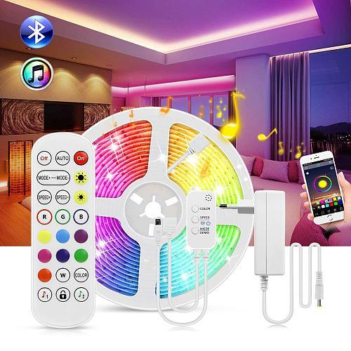 Bluetooth Wall Lights 10M 15M/Roll RGB Flexible LED Light Strip Wall Lamp 12V Bedroom Ceiling Wall Cabinet Decor Indoor Lighting