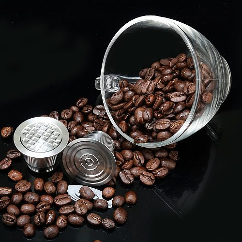 ICafilasNespresso STAINLESS STEEL Metal Capsule Compatible with Nespresso Machine Refillable Reusable capsule Coffee