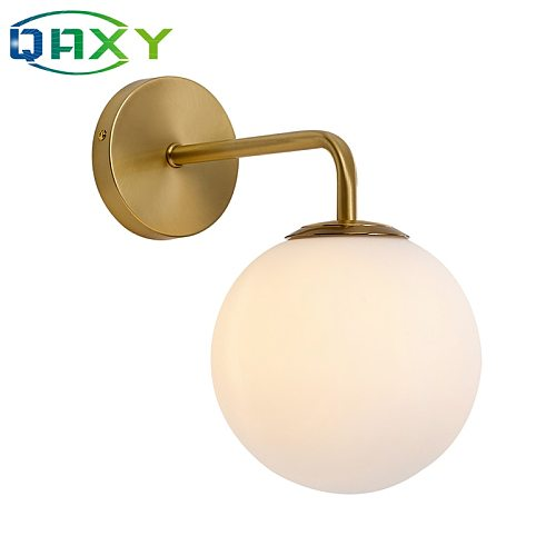 Included With 12w LED Bulb Golden Wall Lights With Milky/Clear Special Glass Round Ball Bedside Wall Lights In Bedroom[DT4200]
