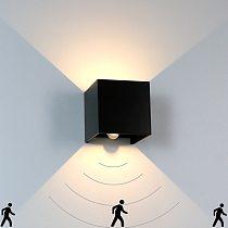 LED Wall Light With Human Body Motion Sensing IP65 Waterproof Outdoor&Indoor Wall Lamp Garden Light Fixture Aluminum AC90-260V