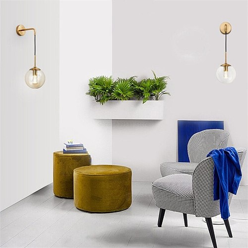 Nordic Modern Glass Ball Wall Lamps Retro Simple Bedside Living Room Decoration Lights Corridor Staircase LED Lighting Fixtures