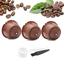 Reusable Nescafe Dolce Gusto Coffee Capsule Filter Cup Refillable Caps Spoon Brush Filter Baskets Pod Soft Taste Sweet