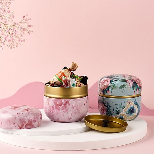 Tea Containers Japanese-Style Herbal Tea Cans Candy Snacks Small round Cans Mini Portable Tinplate Cans Packing Box