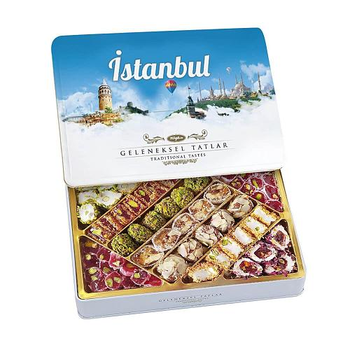 Tuğba Turkish Delight Traditional Flavors İstanbul 540 gr Delicious Metal Box