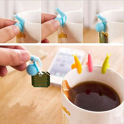 5PCS Cute Snail Shape Silicone Tea Bag Holder Cup Mug Hanging Tool Tea Tools Randome Color