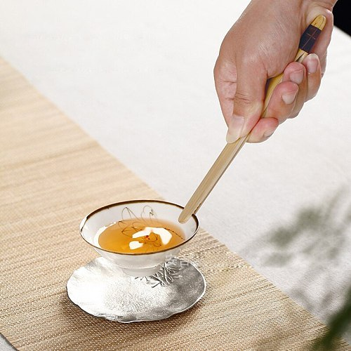 2Pcs Bamboo Teaware Kung Fu Tea Clips Wood Toast Wooden Toaster Bagel Bacon Squeezer Sugar Ice Tea Tongs 18CM Kitchen Tools