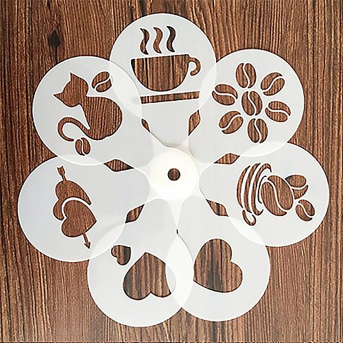 19 Pcs Coffee Cake Plastic Stencil Decoration Cupcake Template Mold Lifelike Cappuccino Latte Stencil Coffee Mold Cooking Tools