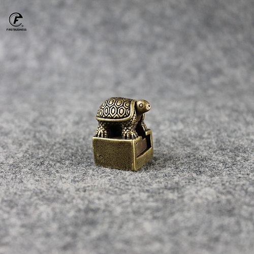 Solid Pure Brass Small Turtle Seal Statue Chinese Feng Shui Lucky Home Decorations Ornaments Lovable Animal Figurines Desk Decor
