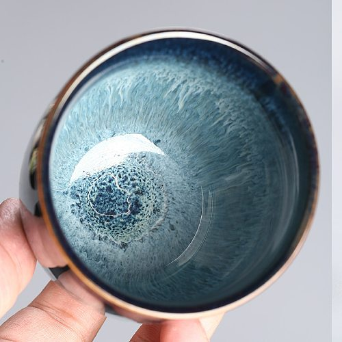LUWU big size ceramic teacup blue porcelain kung fu cup drinkware 170ml