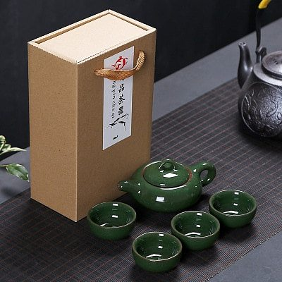 Chinese Travel Kung Fu 5pcs Tea Sets Ceramic Portable Porcelain Service Gaiwan Tea Cups Tea Ceremony Teapot Gift Box