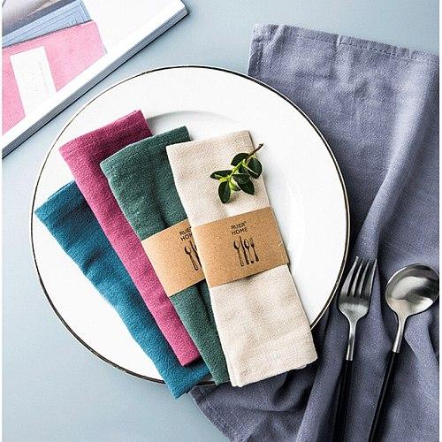 High-grade Plain Cotton Linen Napkins Tea Towels Good Water Absorption Home Kitchen Cloth 1 Pc