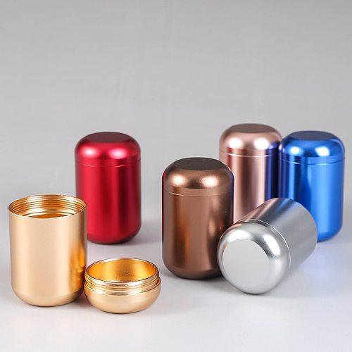Aluminum Straight Tea Can Storage Boxe Small Travel Sealed Portable Tea Coffee Container Small Jar Tea Caddy Organizer