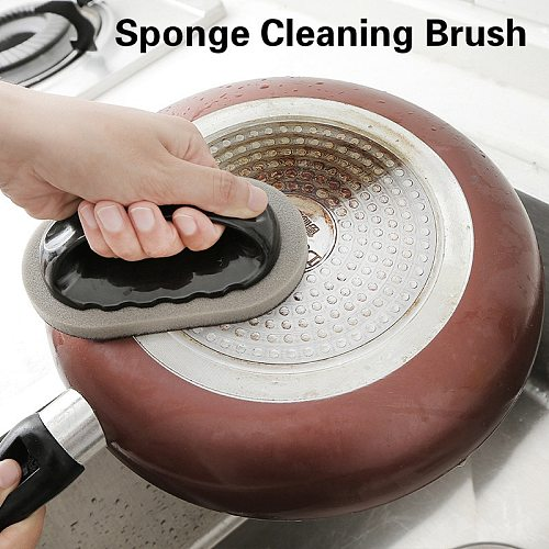 Emery Sponge With Handle Sponge Cleaning Brush Descaling Knife Pan Pot Cleaner Strong Decontamination Brushes Kitchen Supplies