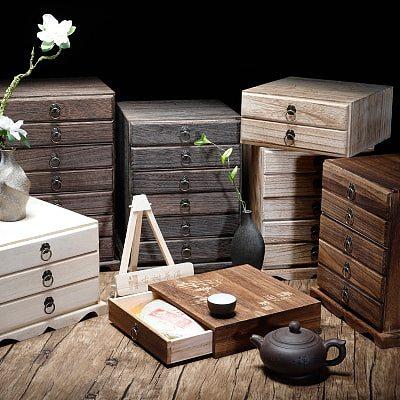 Solid wood tea boxes, ark tea cake tea packaging wooden box burn paulownia multilayer tea tray