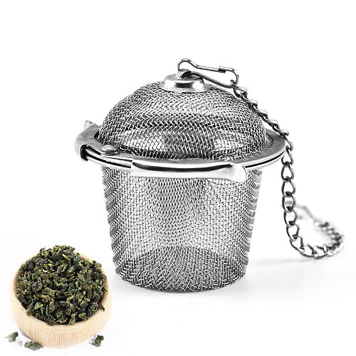 1 PCS New Essential Stainless Steel Ball Tea Infuser Mesh Filter Strainer w/hook Loose Tea Leaf Spice Home Kitchen Accessories