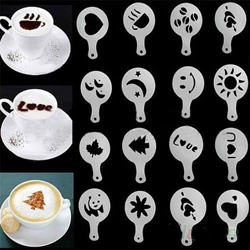 16Pcs Coffee Accessories Cake Decoration Cupcake Template Mold Cappuccino Latte Stencil Coffee Cooking Tools Kitchen Home Cocina