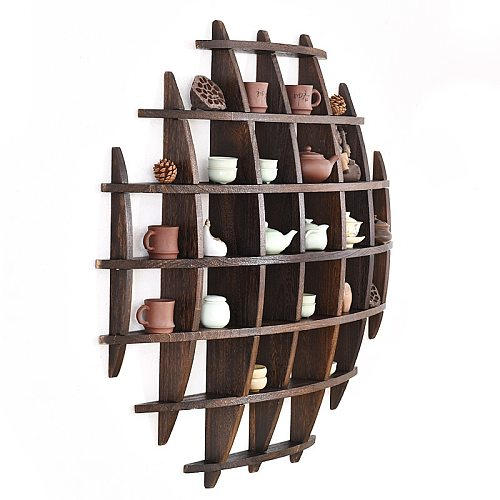 Japanese Style Hang The Wall Tea Pot Holder Antique-and-curio Exhibition Shelves Simple Retro Solid Wood Tea Pot Tray