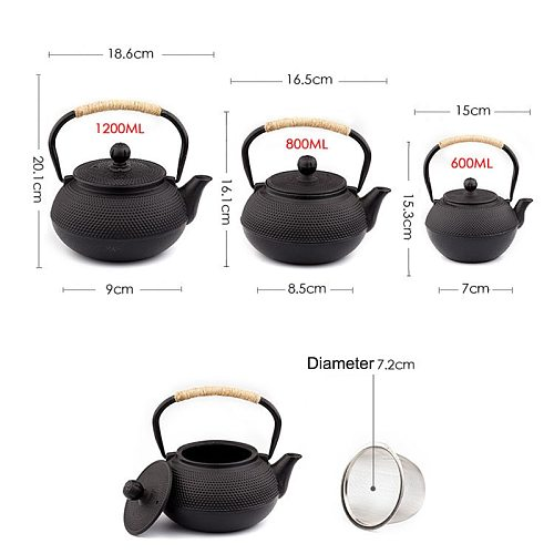 UPORS Japanese Iron Tea Pot with Stainless Steel Infuser Cast Iron Teapot Tea Kettle for Boiling Water Oolong Tea 600/800/1200ML
