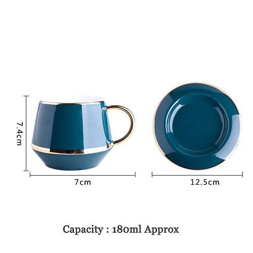 YeFine 180ML Ceramic Tea Cup Set Coffee Cups and Saucer European Style Breakfast Milk Cup Home Office Teacup Porcelain Drinkware