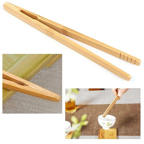 1/2/3pcs Bamboo Teaware Tea Clips Tweezer 18cm Wood Toast Tong Wooden Toaster Salad Bacon Food Straight Clip Tea Tongs Teaware