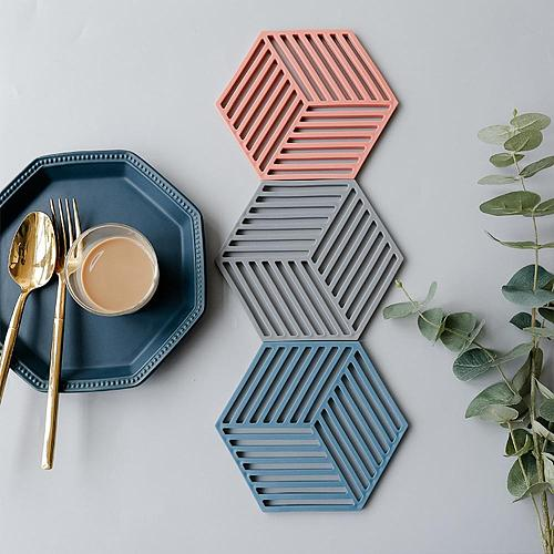 Chic Silicone Coaster Cup Hexagon Mats Pad Heat-insulated Bowl Placemat Home Decor Desktop Eco-friendly Japanese Simple 1PCS