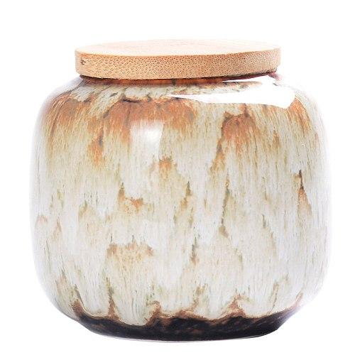 220ml Ceramic Kitchen Tea Box Retro Fission Color Tea Caddies Containers Travel Storage Box Porcelain Jar For Powder Coffee Jar