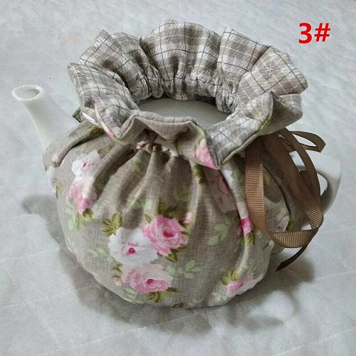 Korean Style Coffee Grid Printed Home Teapot  Keep Warm   Insulation Cover Cotton Quilted Teapot Dust-proof Cover