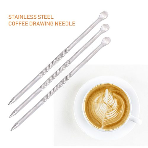 Coffee Drawing Needle Barista Cappuccino Espresso Coffee Decorating Latte Art Pen Tamper Needle Creative Fancy Coffee stick tool