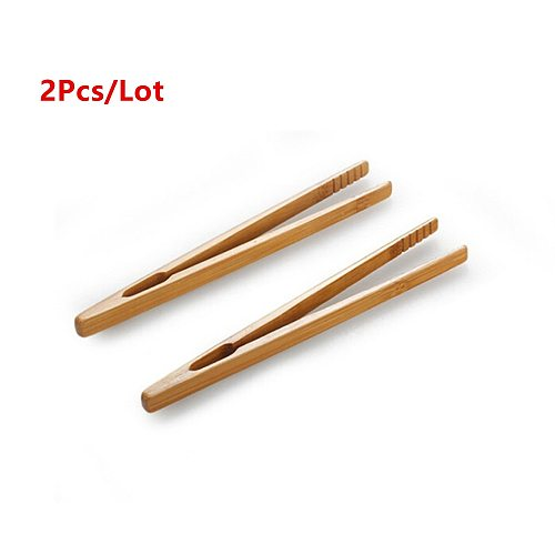 2pcs/lot 18cm Bamboo Teaware Tea Clips Wood Toast Tong Wooden Toaster Bagel Bacon Squeezer Sugar Ice Tea Tongs