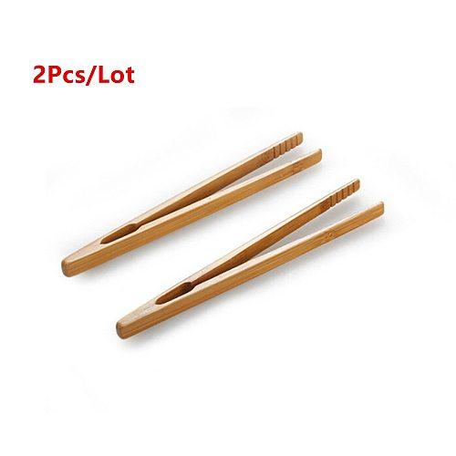 2pcs/lot 18cm Bamboo Teaware Tea Clips Wood Toast Tong Wooden Toaster Bagel Bacon Squeezer Sugar Ice Tea Tongs