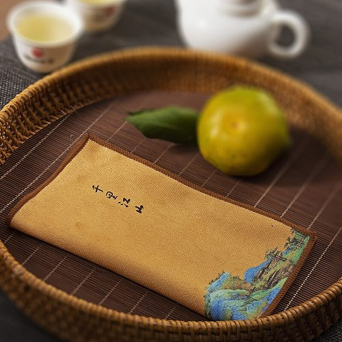 Tea towel Chinese style painted tea cloth Water-absorbing thickened table cloth and dishcloth Tea ceremony accessories Multi-pur