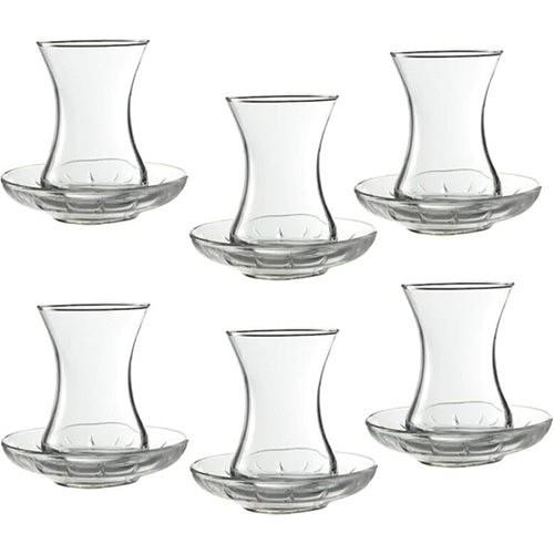 Paşabahçe Chat Turkish Tea Set for 6 People Gift Kitchenware 96942