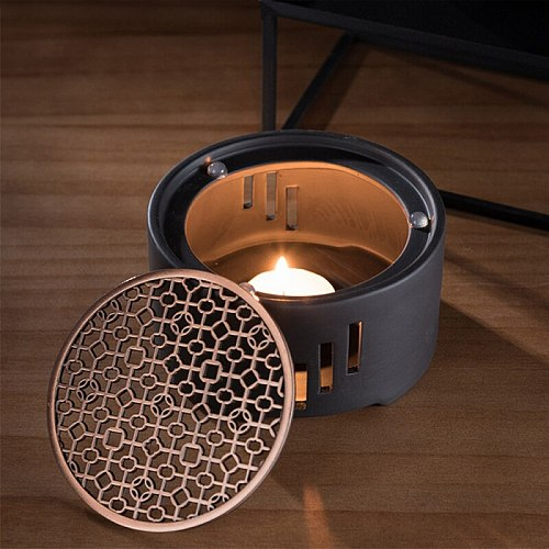 1PC Ceramic Candle Stand Tea Heater Tea Stove Milk Warmer Candle Holder with Mat Without Candle for Home Cafe Kitchen Tools