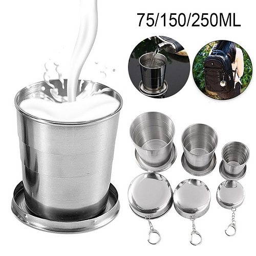 Stainless Steel Folding Cup With Keychain Camping Folding Cups Traveling Outdoor Collapsible Cup with Lid Portable Drinkware