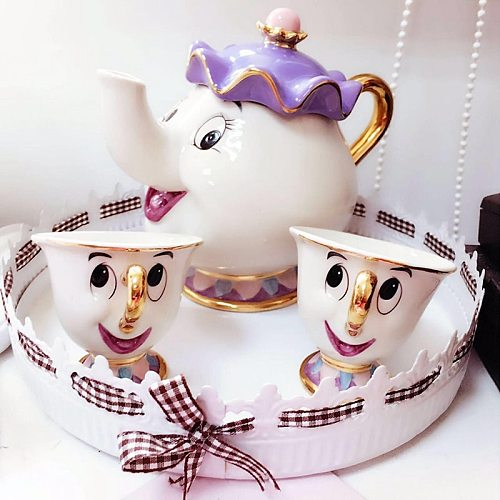 Cute Cartoon Beauty And The Beast Coffee Tea Set Mug Mrs Potts Chip Cup(Not Include Tray)
