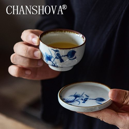 CHANSHOVA  70/90 ml Chinese style Handpainted Ceramic coffee cup saucer set teacup set Drinking Utensils China porcelain H436
