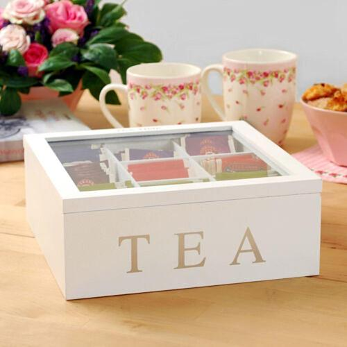 Wholesale 9 Compartments Bamboo Tea Box Coffee Tea Bag Storage Holder Organizer For Kitchen Cabinets Home Tea Jewelry Holders